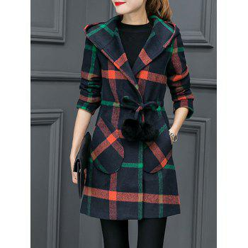Grid Drawstring Wool Blend Coat