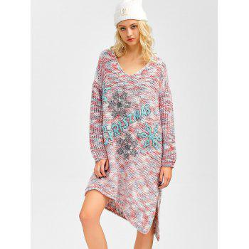 Space Dyed Asymmetrical Christmas Tunic Jumper Dress - COLORMIX ONE SIZE
