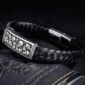 Skull Carved Faux Leather Bracelet