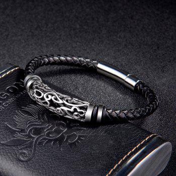 Braid PU Leather Titanium Steel Bracelet -  BLACK