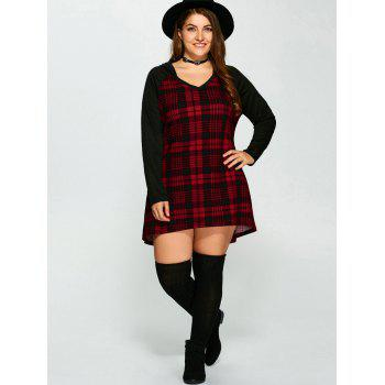 Plus Size Hooded Plaid T-Shirt