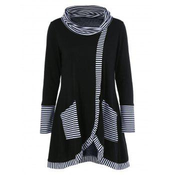 Long Sleeve Plus Size Striped Trim Overlap T-Shirt