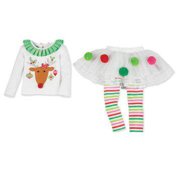 Christmas Decoration Elk Culotte Clothes Set For Girl - WHITE XL