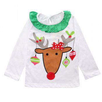 Christmas Decoration Elk Culotte Clothes Set For Girl - WHITE XS