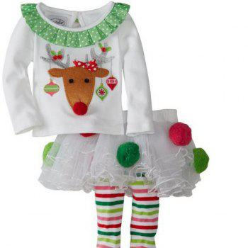 Christmas Decoration Elk Culotte Clothes Set For Girl - WHITE WHITE