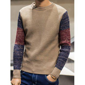 Pullover Color Block Sweater with Crew Neck