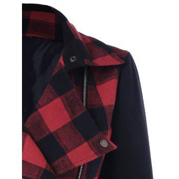 Inclined Zip Plaid Jacket - CHECKED L