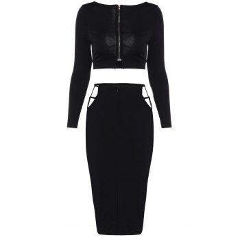 Cropped Long Sleeve Top and Pencil Skirt - BLACK L