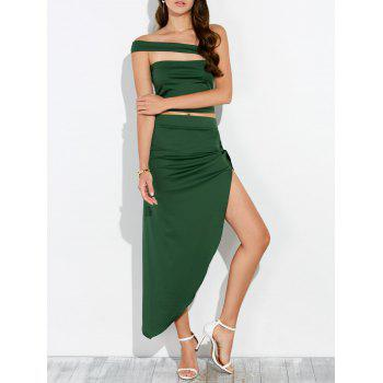 Cut Out Cropped Top and Asymmetrical Skirt - ARMY GREEN ARMY GREEN