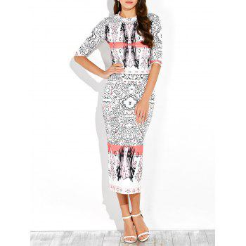 Half Sleeve Printed Top and Midi Bodycon Skirt