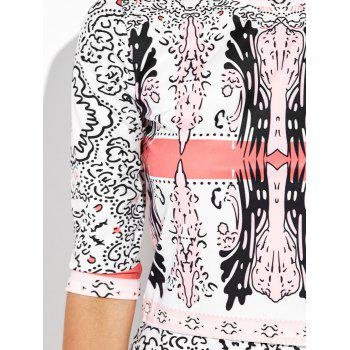 Half Sleeve Printed Top and Midi Bodycon Skirt - WHITE WHITE