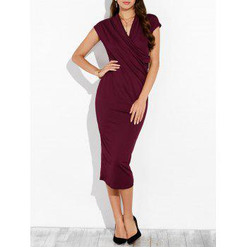 Draped Bodycon Surplice Dress