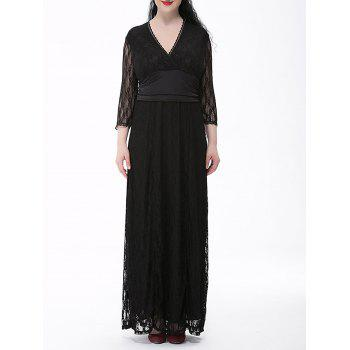Plus Size Surplice Lace Long Formal Dress