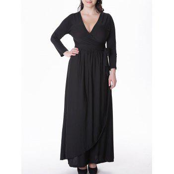 Plus Size Tied Belt Maxi Formal A Line Prom Dress