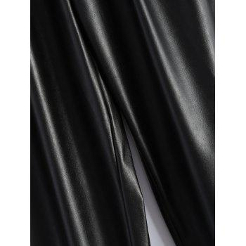 Plus Size Drawstring PU Leather Tapered Pants - BLACK 2XL