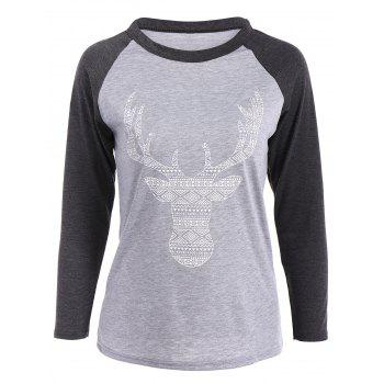 Elk Patterned Raglan Sleeves T-Shirt