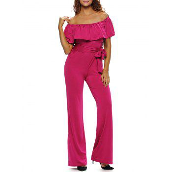 Off The Shoulder Wide Leg Belted Ruffle Jumpsuit