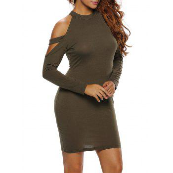 Long Sleeves Cold Shoulder Mini Club Dress