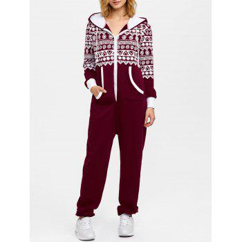 Hooded Geometry Print Christmas Jumpsuit