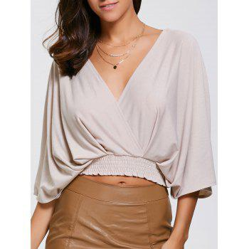 Batwing Sleeve Surplice Crop Top