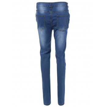 Patch Design Skinny Ripped Jeans With Pockets - BLUE BLUE