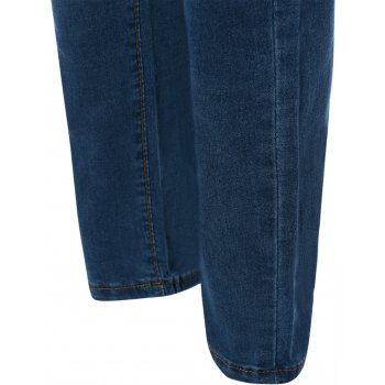 Skinny Frayed Ripped Jeans With Pockets - BLUE BLUE