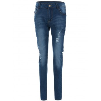 Skinny Frayed Ripped Jeans With Pockets - BLUE L