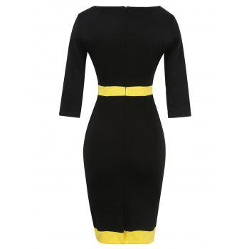 Bandage Bodycon Midi Dress with Sleeves - YELLOW L