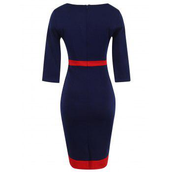 Bandage Bodycon Midi Dress with Sleeves - PURPLISH BLUE 2XL