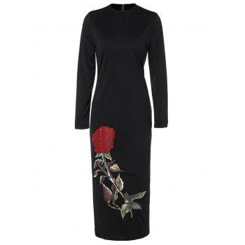Floral Long Sleeve Crew Neck Midi Fitted Dress