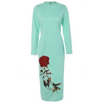 Rose Long Sleeve Crew Neck Dress