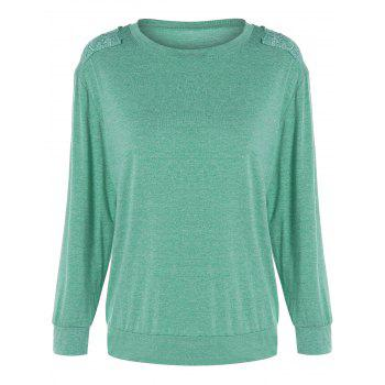 Lace Insert Plain Sweatshirts