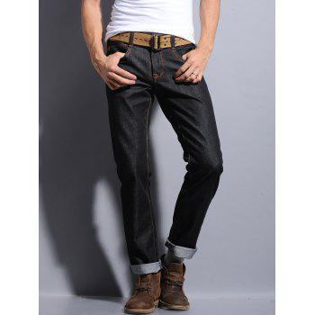 Straight Leg Pocket Zipper Fly Dark Wash Jeans