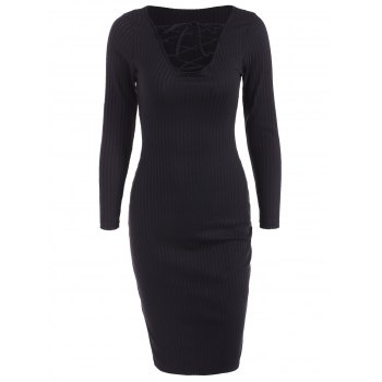 Lace Up Ribbed Long Sleeve Dress