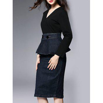 Longueur au genou Stylo de travail Long Sleeve Peplum Dress - Noir 2XL