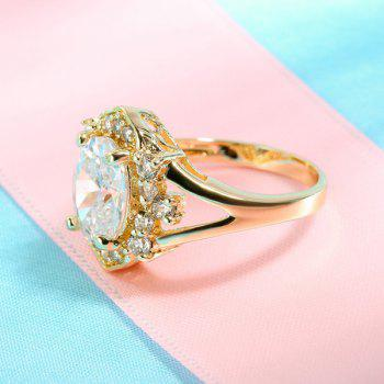 Oval strass Anneau - Or 7