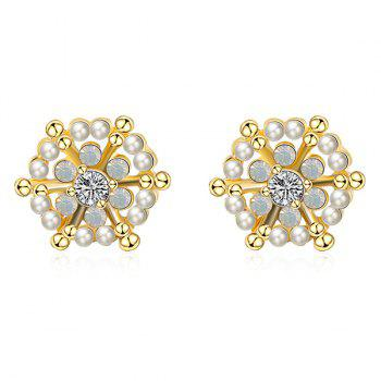 Rhinestone Artificial Pearl Snowflake Earrings