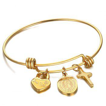 Virgin Mary Crucifix Heart Lock Bracelet - GOLDEN GOLDEN