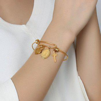 Virgin Mary Crucifix Heart Lock Bracelet -  GOLDEN