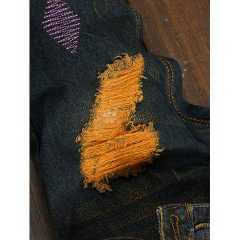 Zipper Fly Colorful Patch and Holes Design Plus Size Jeans - COLORMIX 34