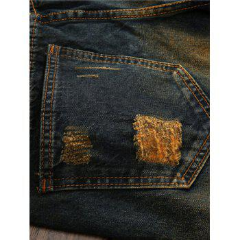 Zipper Fly Colorful Patch and Holes Design Plus Size Jeans - 28 28
