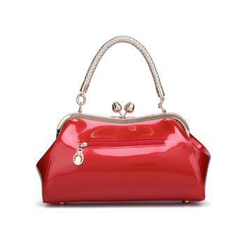 Vintage Metal Trimmed Patent Leather Handbag - RED
