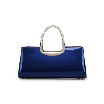 Braid Metal Patent Leather Handbag -  DEEP BLUE