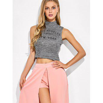 High Neck Sleeveless Crop Top - GRAY GRAY