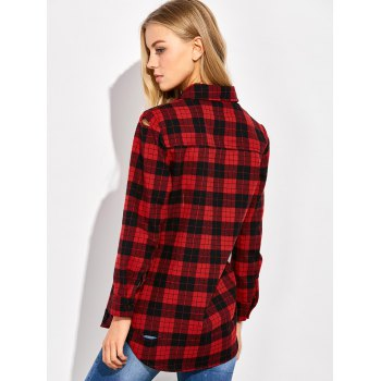 Casual Tartan Check Oversized Shirt - S S