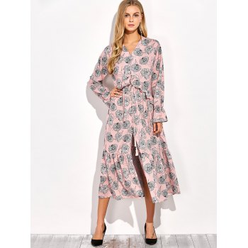 Frilled Printed Long Sleeve Maxi Dress - COLORMIX S