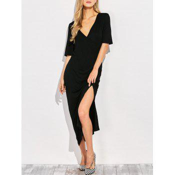 V Neck Side Slit Maxi T-shirt Dress