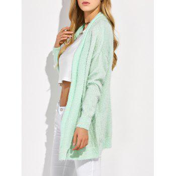 Longline Fluffy Mohair Cardigan - MINT GREEN S