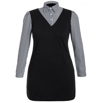 Plus Size Long Sleeve Striped Dress - BLACK 2XL