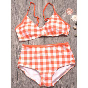 Spaghetti Strap Plaid Bikini Set